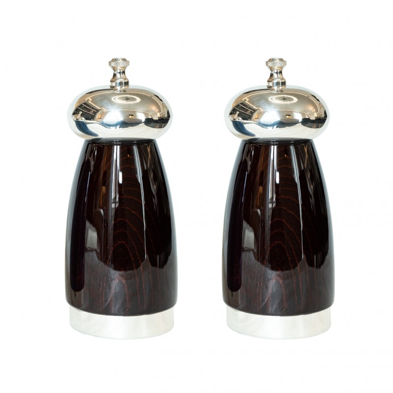 Salt and Pepper Mill Mahogany Wood and Silver-Plated Brass