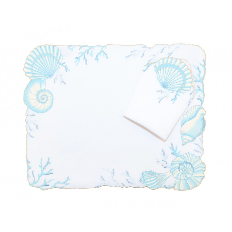 Placemat and Napkin Sealife Gold and Silver