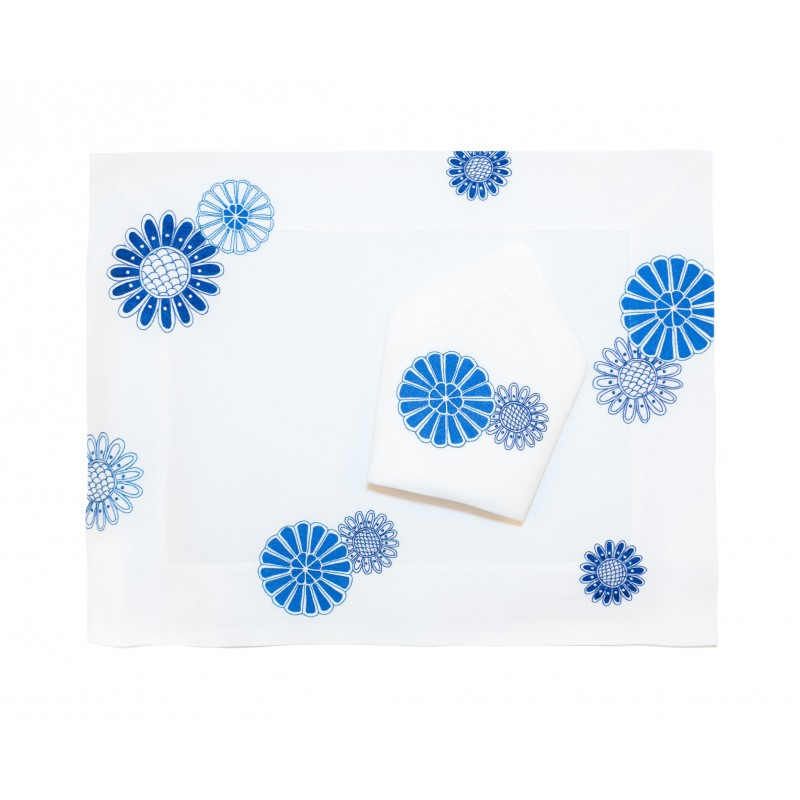 Placemat and Napkin Bleus d'Ailleurs