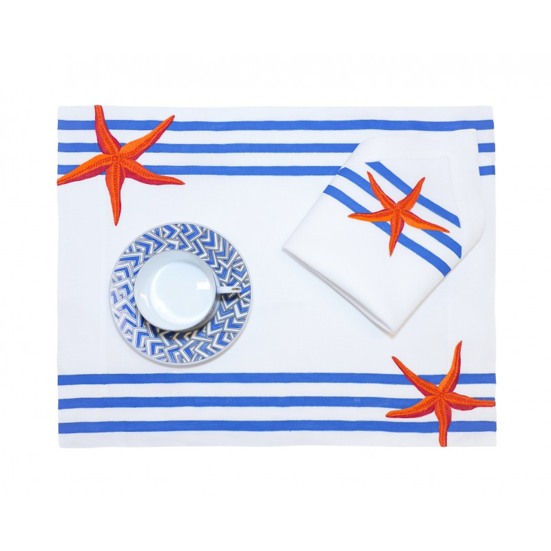 Placemat and Napkin StarFish Blue