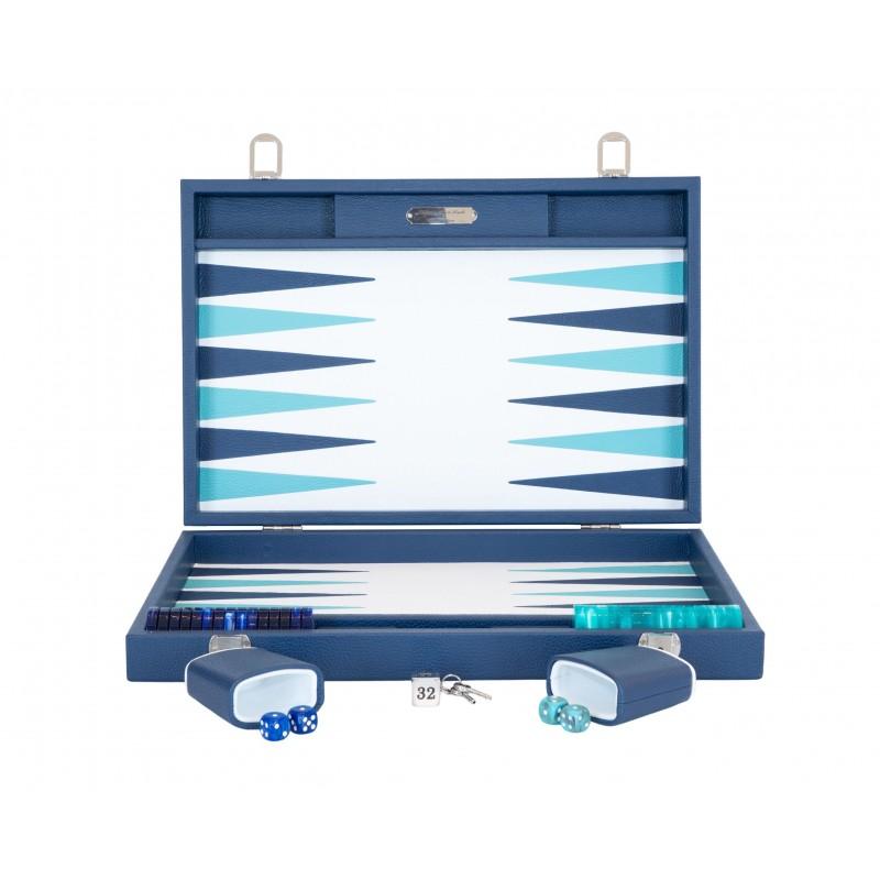 Buffalo Backgammon Large Navy and Turquoise