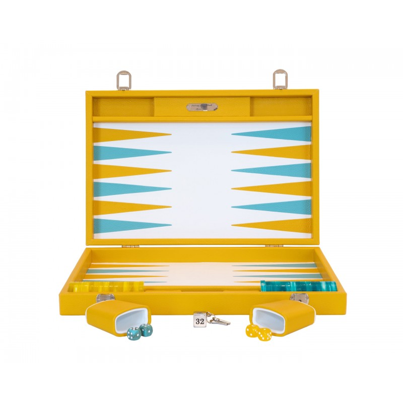 Buffalo Backgammon Large Yellow and Turquoise