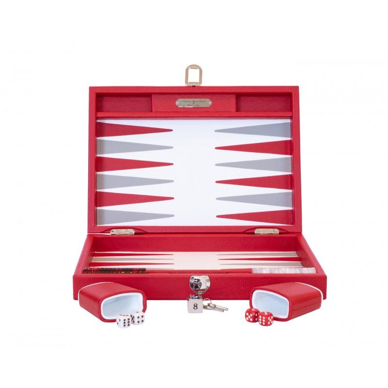 Buffalo Backgammon Large Red and Light Grey