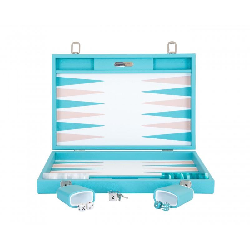 Buffalo Backgammon Large Turquoise and Light Pink