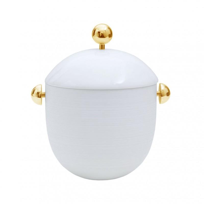 Hemisphere White Satin Soup Tureen (Gold)