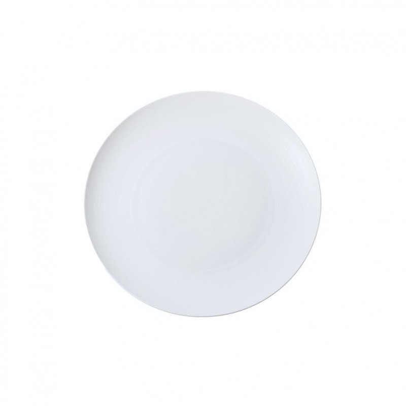 Hemisphere White Satin Flat Round Dish Mini