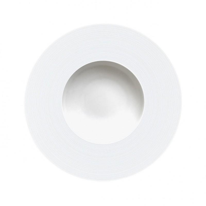 Hemisphere White Satin JDC Rim Soup Plate