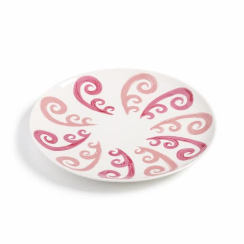 Athenee Peacock Dessert Plate Pink