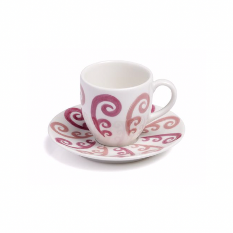 Athenee Peacock Espresso Cup with Saucer Pink