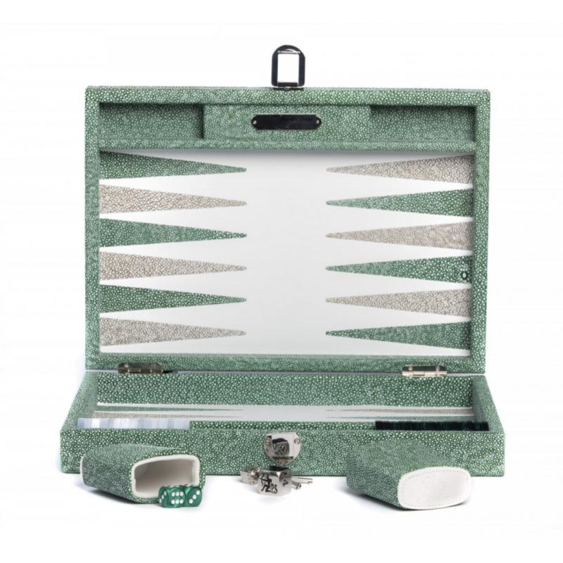 Backgammon Gabin Galuchat en Cuir Vert Moyen Modèle