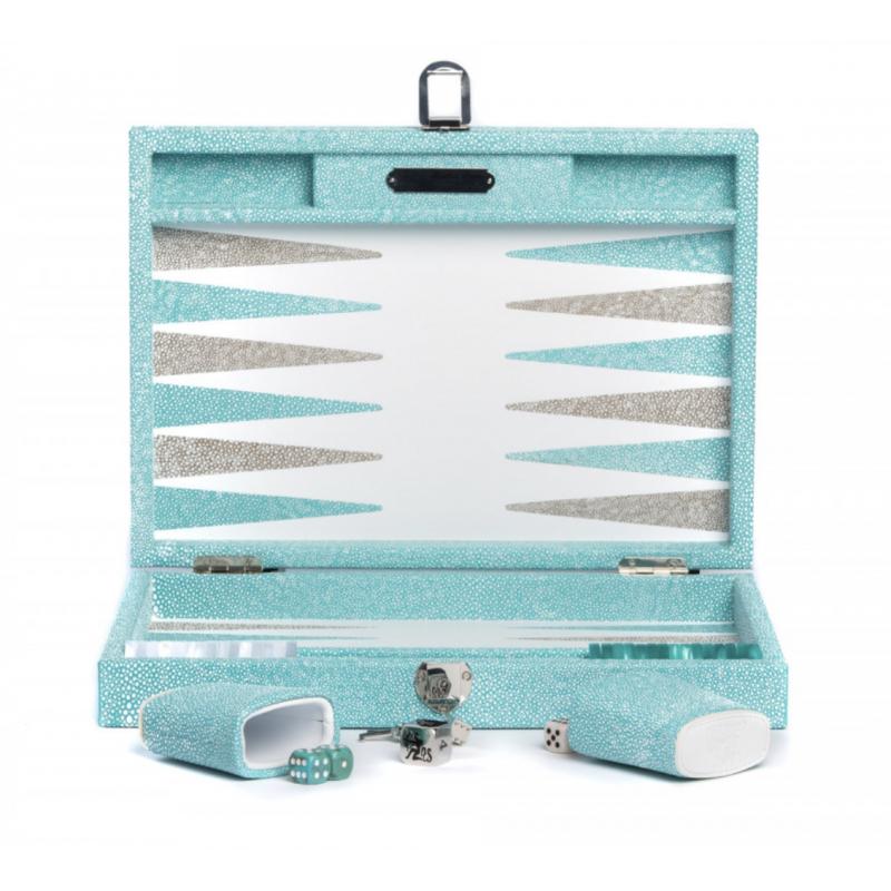 Backgammon Galuchat en Cuir Turquoise Moyen Modèle