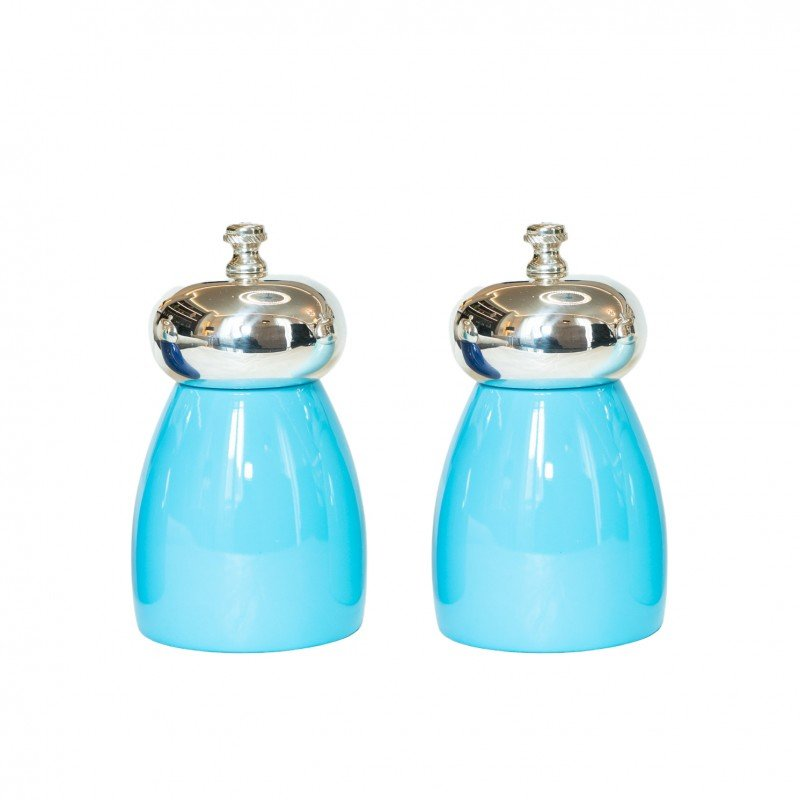 Salt and Pepper Mill Turquoise Cherry Wood Silver-Plated Brass