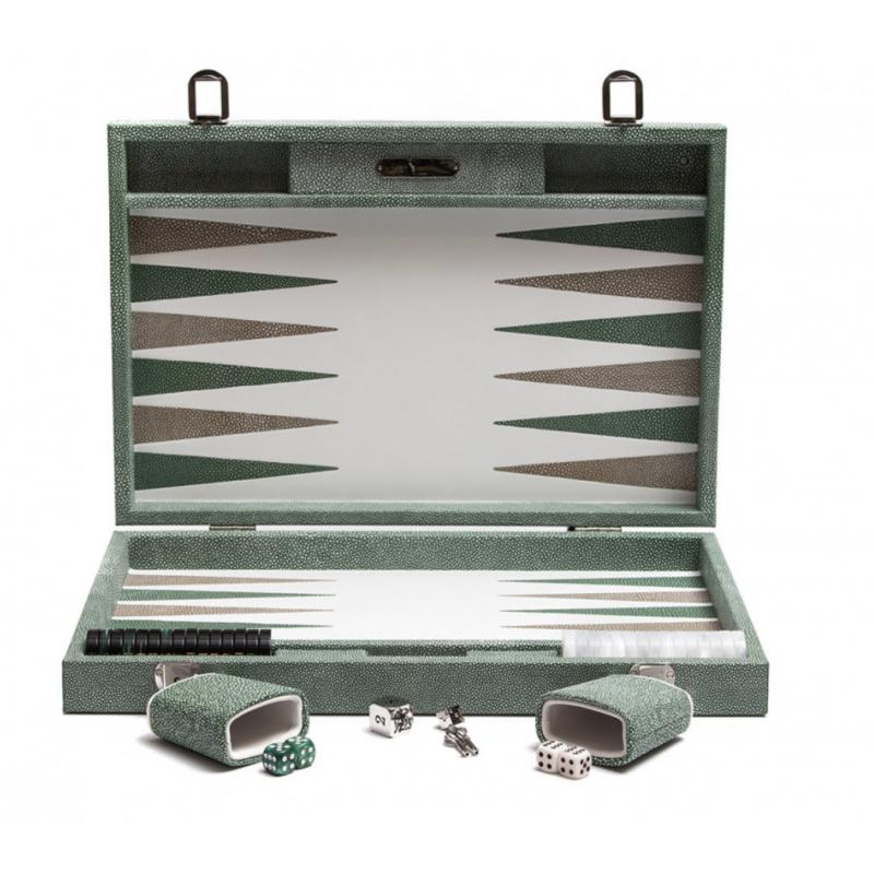 Backgammon Green Galuchat Large Size