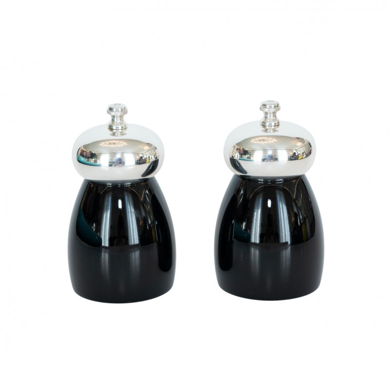 Salt and Pepper Mill Shiny Black Wood and Silver-Plated Brass