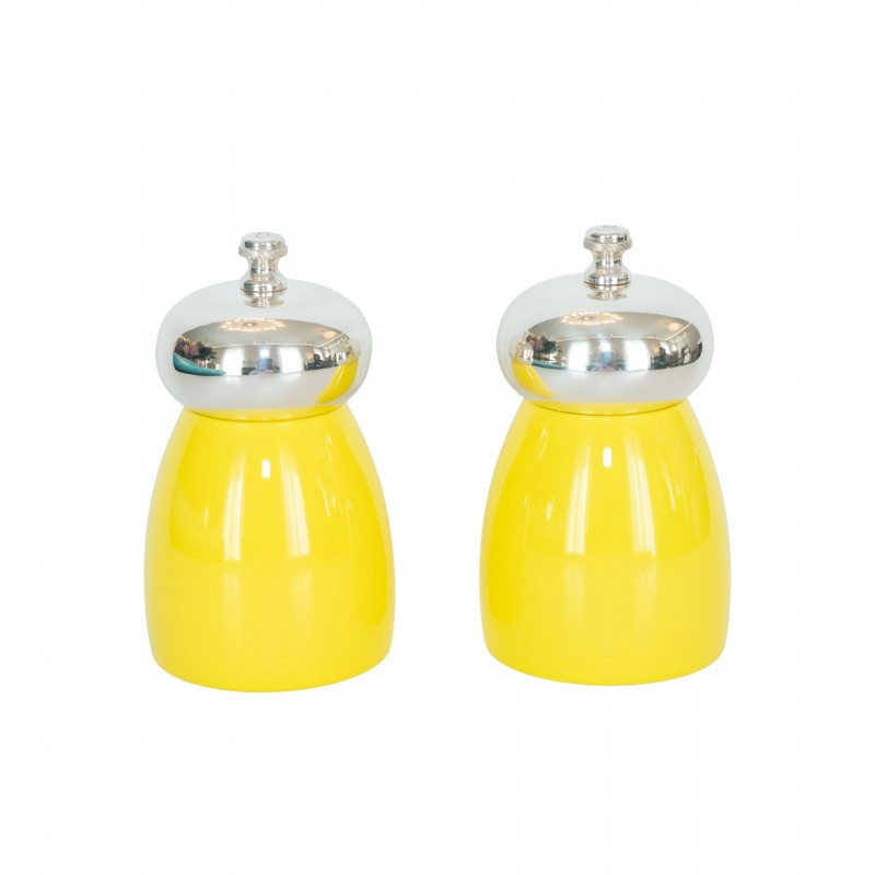 Set Salt and Pepper Mill Yellow Wood and Silver-Plated Brass