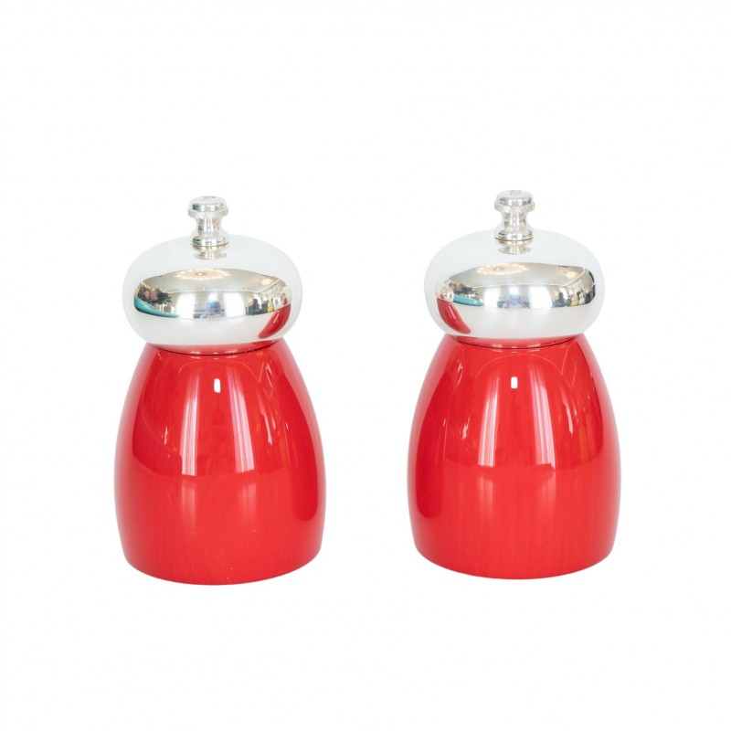 Salt and Pepper Mill Red Cherry Wood Silver-Plated Brass and Glass