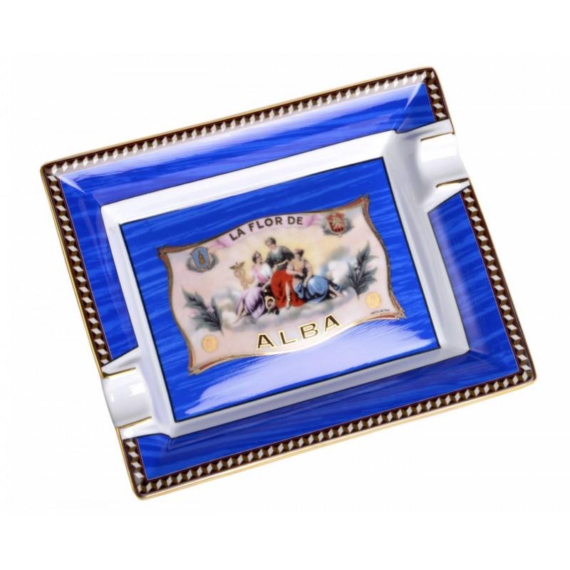 Flor de Alba Porcelain Ashtray Blue