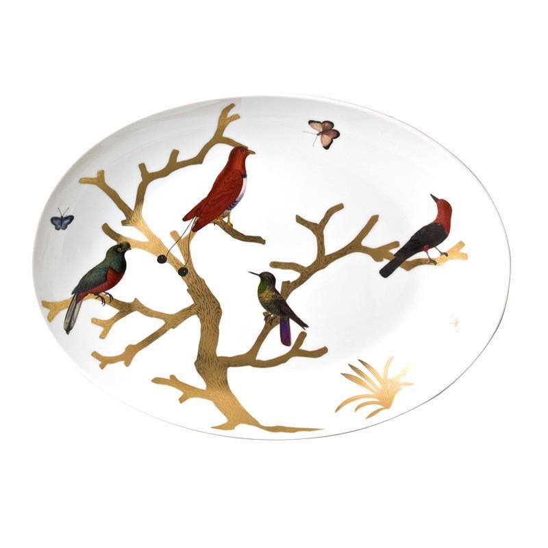 Aux Oiseaux Oval Platter no Rim