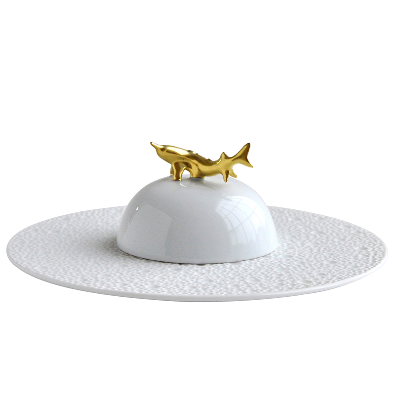 Ecume Blanc Set of Caviar Plate and Bell Covert