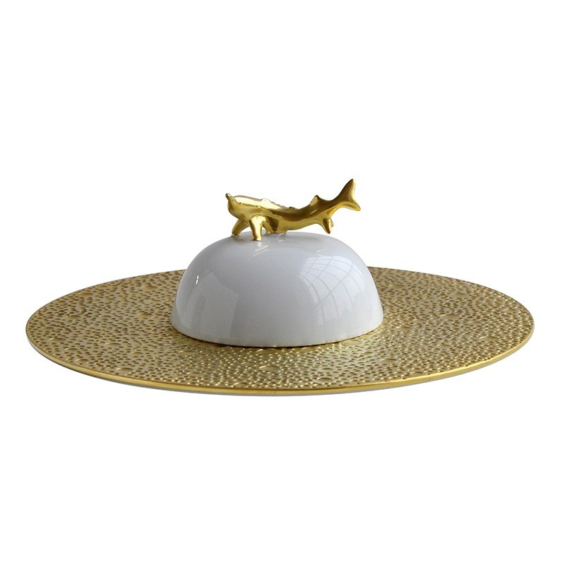 Ecume Or Set of Caviar Plate and Bell Covert