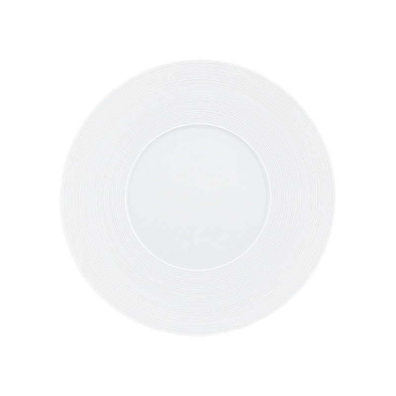 Hemisphere White Satin Dinner Plate