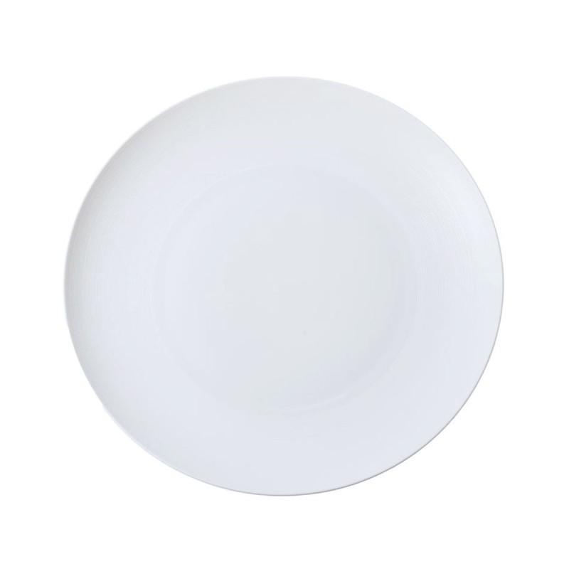 Hemisphere White Satin Flat Round Dish Maxi