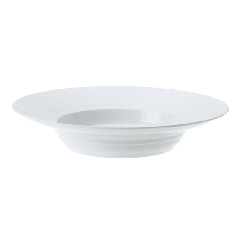 Hemisphere White Satin Hollow Round Dish with Rim