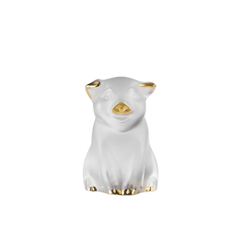 Pig Sculpture Clear and Gold Stamped