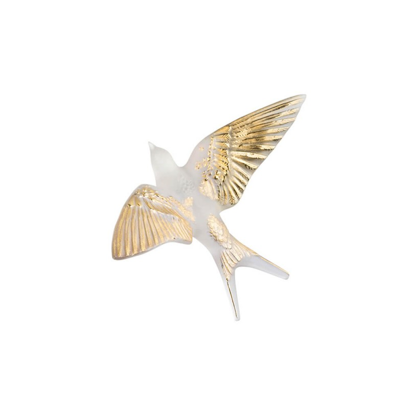 Swallow Wall Sculpture Clear and Gold Stamped