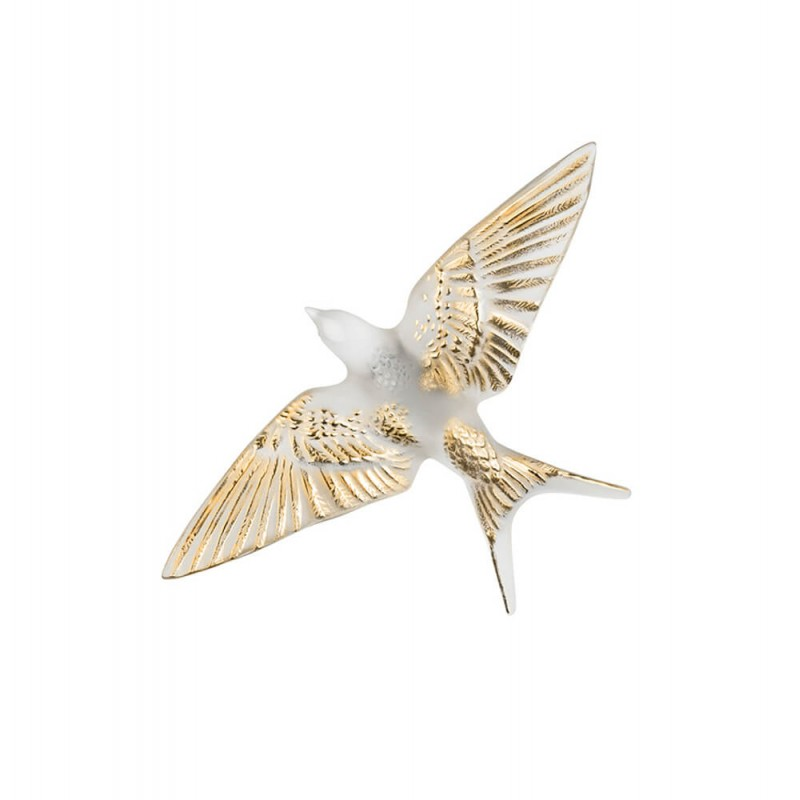 Swallow Wings Down Wall Sculpture Clear and Gold Stamped