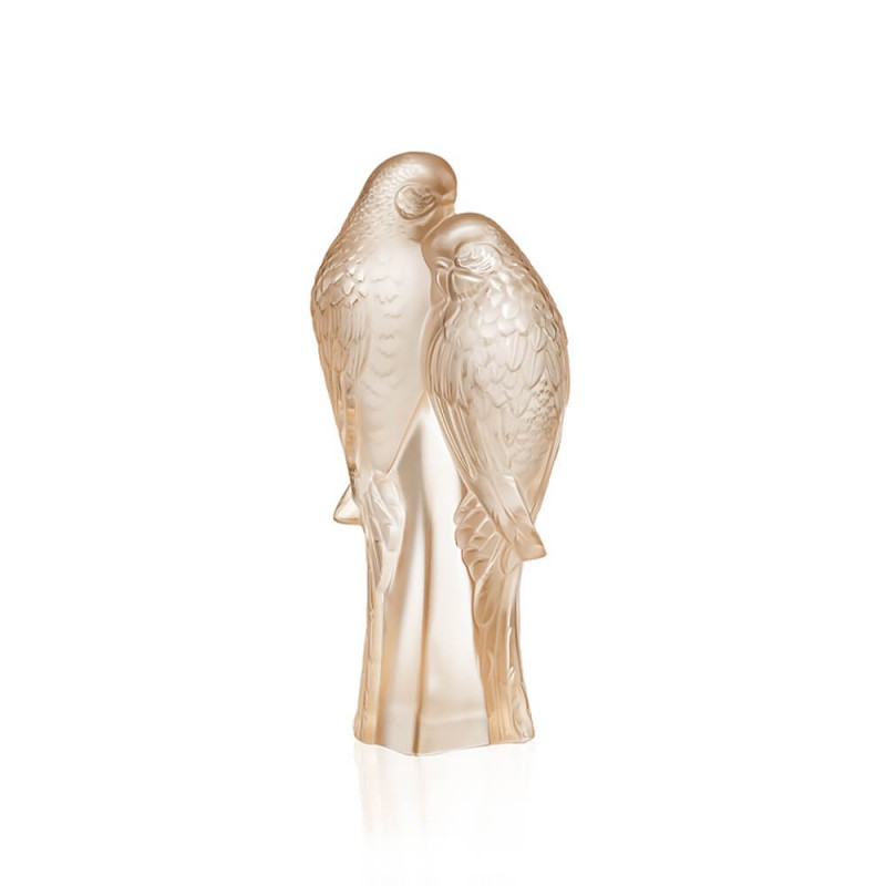 2 Parakeets Sculpture Gold Luster