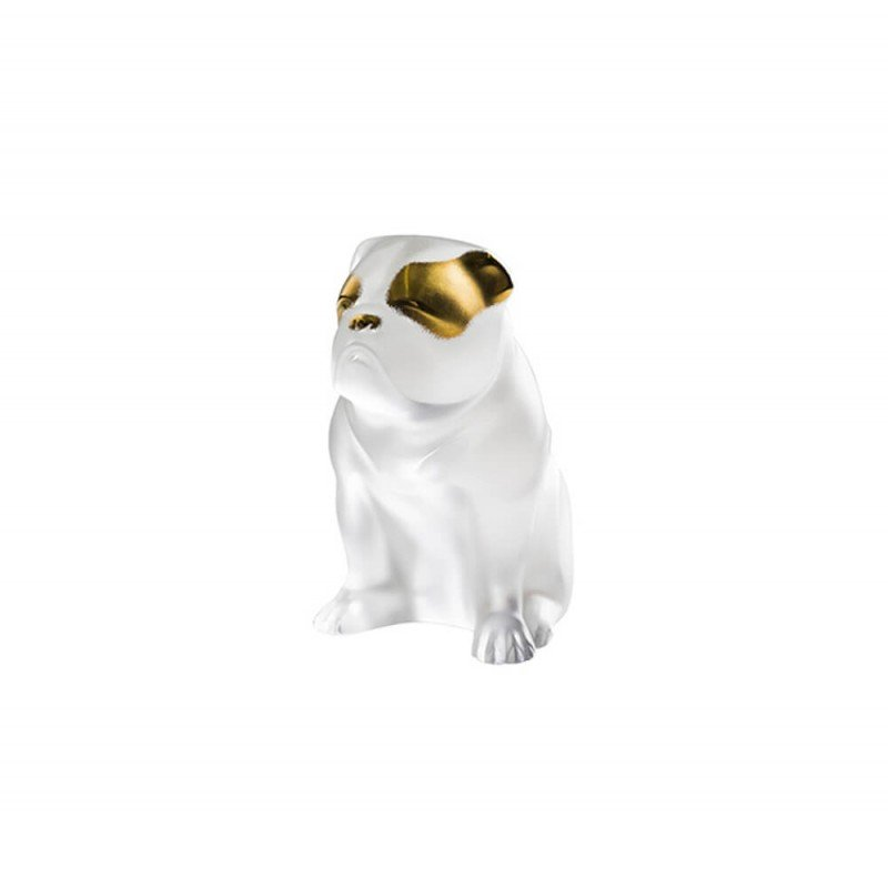 Bulldog Dog Sculpture Clear and Gold Stamped