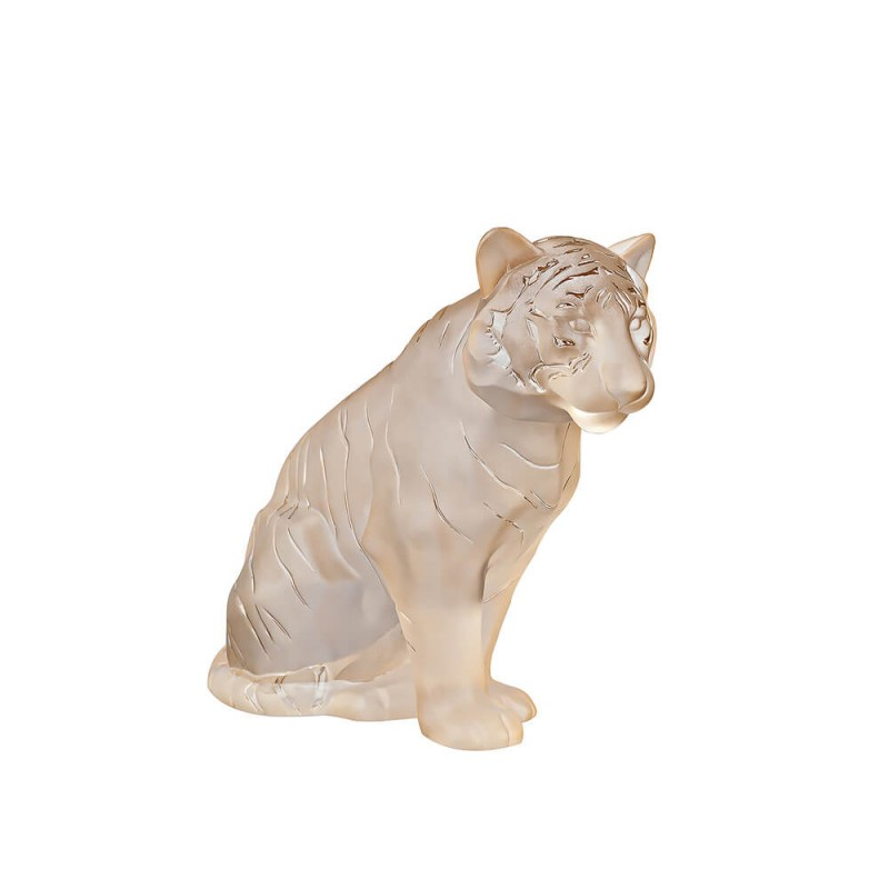 Sitting Tiger Large Gold Luster