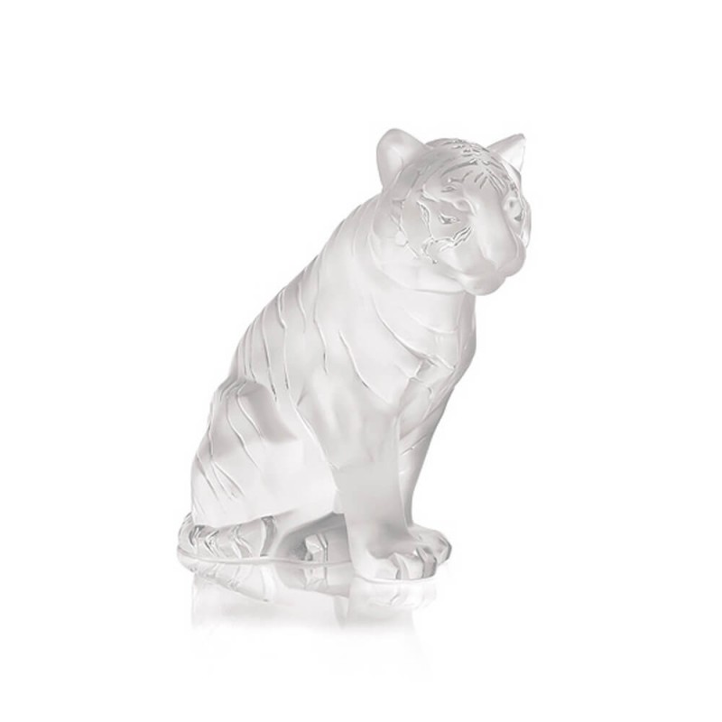 Sitting Tiger Sculpture Small Size Clear