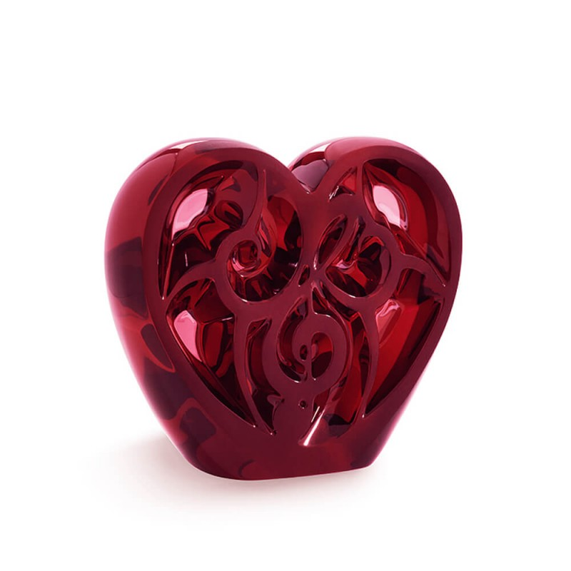 Music is Love Heart Sculpture Red
