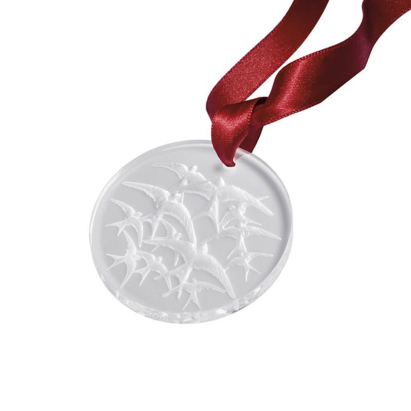 Décoration de Noël Médaille Motif Hirondelles Clair