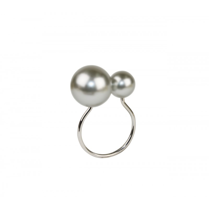 Pearl Napkin Ring Gray and Silver