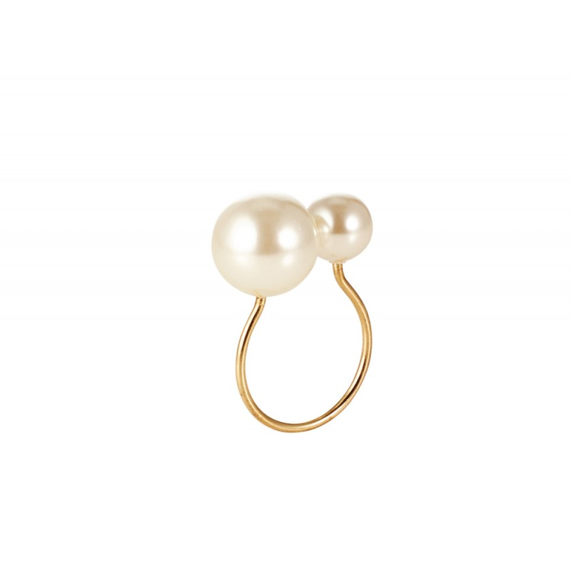 Pearl Napkin Ring Ivory and Gold
