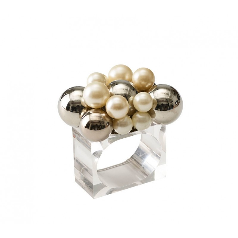 Bauble Napkin Ring Pearl and Silver