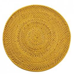 Calypso Rattan Placemat Yellow