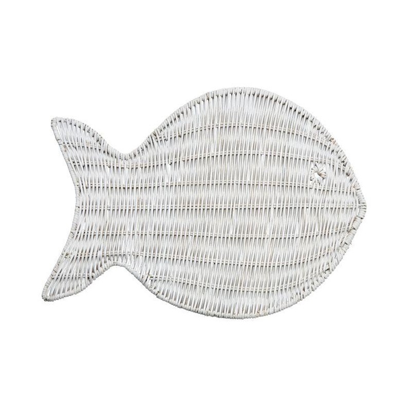 Wicker Fish Placemat White