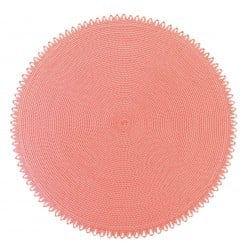 Edge Round Placemat Ivory Pink