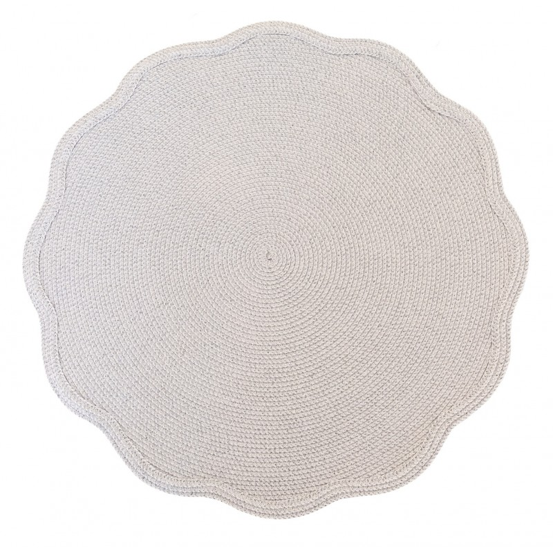 Shimmer Round Placemat Silver and White