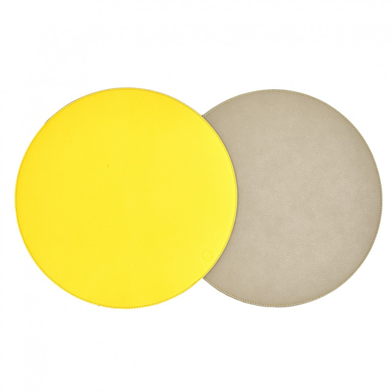 Reversible Faux Textured Leather Round Placemat