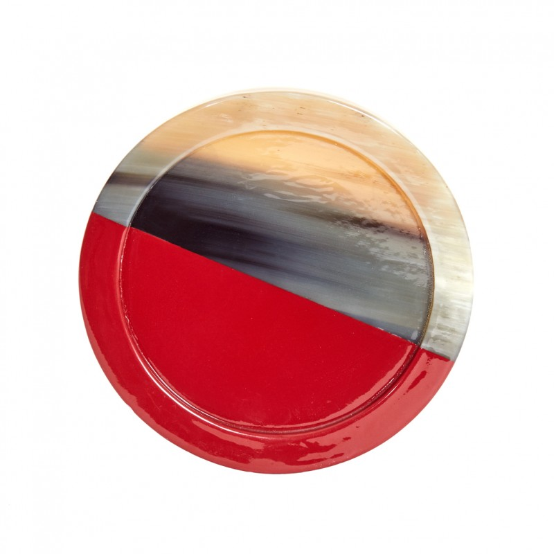 Horn and Lacquer Coaster Red Horn