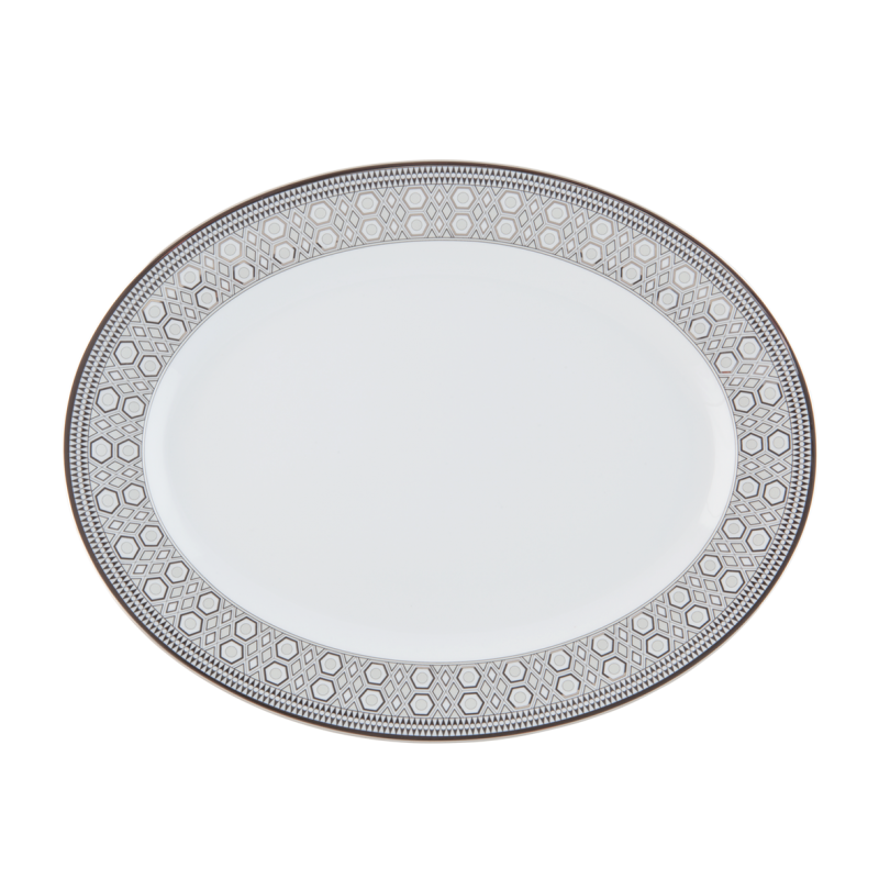 Hollywood Small Oval Platter Platinum