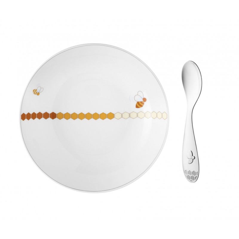 Baby Porcelain Cereal Bowl And Silver-Plated Spoon Set