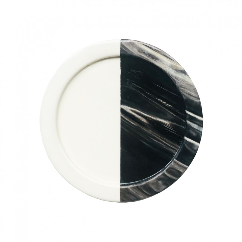 Horn and Lacquer Coaster White Horn