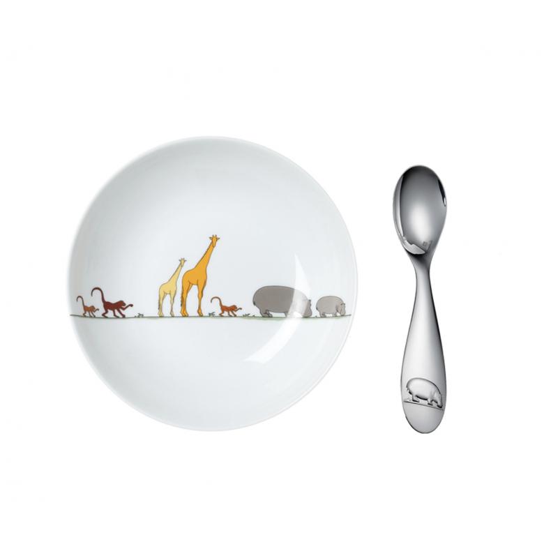 Savane Coffret Assiette en Porcelaine et Cuillère Bébé en Métal Argenté