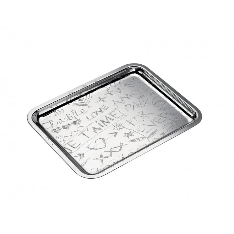 Graffiti Silver-Plated Rectangular Tray